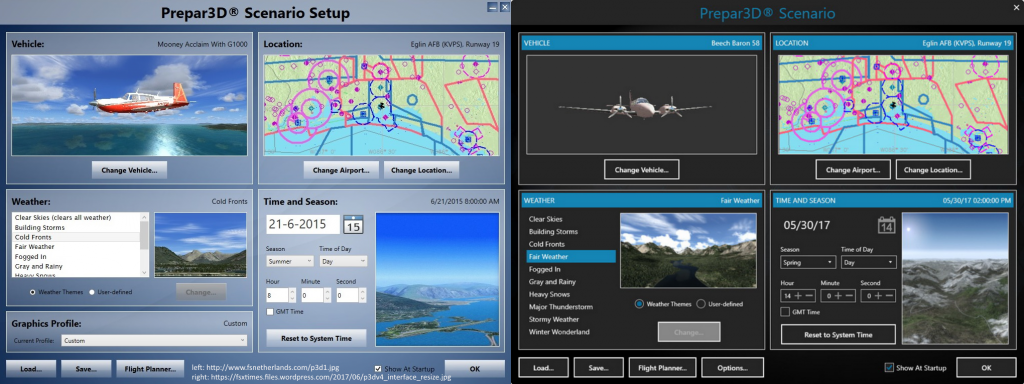 Screenshot of P3Dv1 and v4 menus