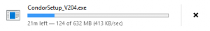 Condor downloading at a whopping 413 KB/s